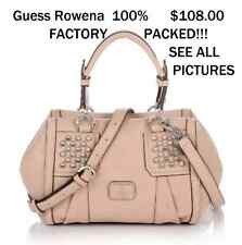 Guess Handbag Ladies Rowena Satchel Crossbody Sling Bag SAND Logo Sac $108