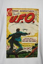 graphic retro art vintage Mens Cotton T Shirt , S,M,L,XL , UFO Space Adventures
