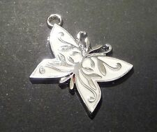 5pc Enamel Silver Plated White Butterfly Lucky Charm Pendant Tag 27mm