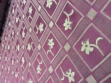 """Chex with lily print - 54"""" wide fabric - polyester - burgundy wine / gold color"""