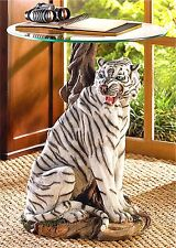 Rare Striking ** WHITE TIGER ACCENT END SIDE OR NIGHT STAND TABLE ** NIB