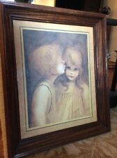 Home Interior Little Kiss Boy And Girl Wood Framed Glass Picture Big Eyes Kane