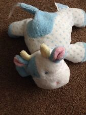 Eden small white  blue spotty SOFT TOY cuddly COW BABY COMFORTER lovey old  ra1