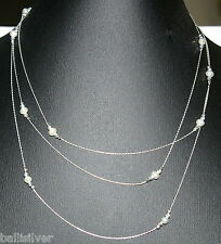 """60"""" 153cm Sterling Silver 925 Chain, Laser Cut Beads, Freshwater Pearls NECKLACE"""