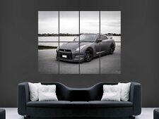Nissan Gtr R35 supercoche rápido Negro Mate muro de arte cartel impresión de foto Grande