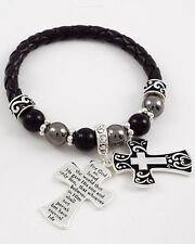 SIDEWAYS CROSS SHAMBALLA BRACELET BLACK WITH 2 CROSSES AND SCRIPTURE ARM CANDY