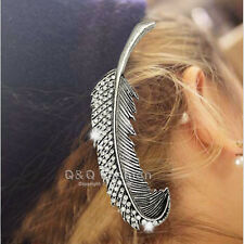 Blogger Silver Leaf Feather Crystal Hair Pin Clip Cuff Claw Snap Barrette Bridal