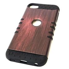 For iPod Touch 5th 6th Gen - HARD&SOFT RUBBER HYBRID CASE COVER AMBER BROWN WOOD