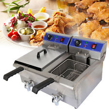 20L Commercial Electric Deep Fryer Stainless Steel Drain Fast Food Restaurant