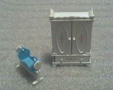 "1980 Mattel ""Littles"" Miniature Dollhouse, Metal/Plastic Armoire & Cradle, NICE"