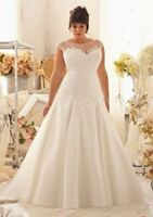 A-Line White/Ivory Bridal Gown Organza Wedding Dress Stock Plus Size UK18-30