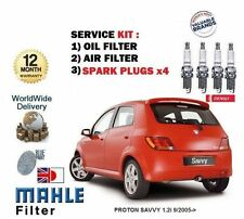 PROTON SAVVY 1.2i 9/2005-> NEW SERVICE SET OIL AIR 2 X FILTER + SPARK PLUGS KIT