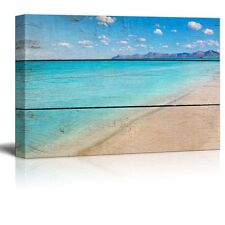 "Canvas Prints Wall Art - Tropical Beach on Vintage Wood Background - 12"" x 18"""