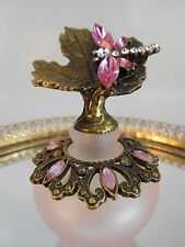 Welforth Enameled Perfume Bottle With Dragonfly On A Leaf On Top