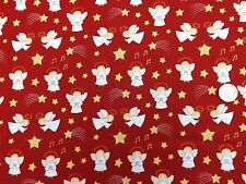 Christmas Angels on Red fabric fq 50x56 cm Lewis & Irene CHR10-3 100% Cotton