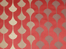 """SANDERSON CURTAIN FABRIC DESIGN """"Charleston"""" 12 METRES RED AND GOLD WEAVE"""