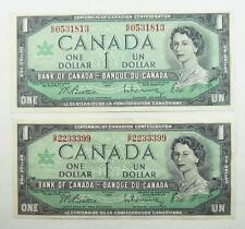 2 Canada 1967 One Dollar / $1.00 Centennial Issue Banknotes - VF to EF