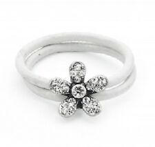 White Leather & Crystal Flower Sparkly Ring - 18mm - Size Q
