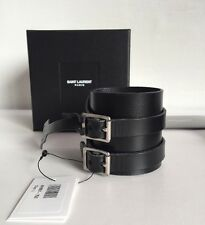 SAINT LAURENT  DOUBLE-BUCKLE LEATHER CUFF BRACELET SIZE L