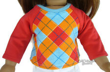 """DISCONTINUED Preppy Argyle T-Shirt Top fits 18"""" American Girl Doll Clothes"""