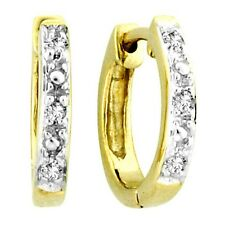 10K Yellow Gold Mens Ladies Children Genuine Diamond Hoops Earrings 11mm