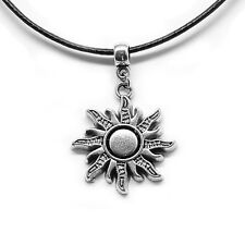 Sun Rays Charm Pendant Choker Necklace with Black Cord