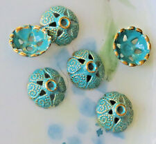 #700CD Patina Bead Caps Deco Flower Floral Gold Unique Artsy 8mm Antiqued Green