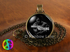 Muhammad Ali Boxing Quote IMPOSSIBLE IS NOTHING Necklace Pendant Jewelry Gift