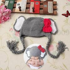 Newborn Baby Infant Handmade Crochet Knit Elephant Hat Costume Photography Prop