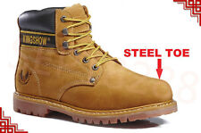 """FREE $3.99 SOCKS Kingshow Men's 6"""" Work Boots Shoes With Steel Toe 8036ST"""