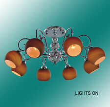 """Chrome CEILING MOUNT Fixture with Black Glass Cover (D27"""" x H12"""") with 8 Lights"""
