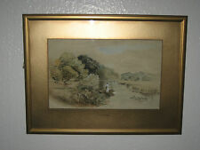 Antique Watercolor Painting 'Man On The Boat' Signed, By F. E. Slinger - 1906