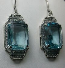 18ct *Aquamarine* Art Deco Filigree Sterling Silver 925 Earrings {Made to Order}