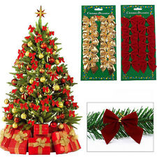 12PCS Bow Christmas Tree  Decoration XMAS Home Party Holiday Wedding Ornament