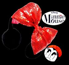 Disney Minnie Mouse Soft Furry Earmuff Ear Muff BIG Huge! Red Sequin Bow Ribbon