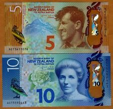 Set New Zealand, $5;10 2015, Polymer, Pick New, Redesigned, Unc