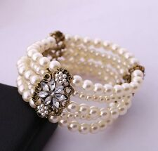 Multi Layered Bangle Crystal Pearl Silver Cuff Multistrand Bead Stretch Bracelet