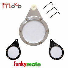 MOTORCYCLE ROUND TAX DISK HOLDER QUAD BIKE SCOOTER UNIVERSAL FIT SILVER