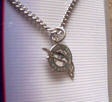 Florida Marlins logo silver tone necklace MLB