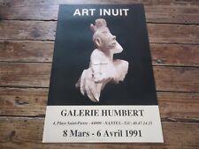 AFFICHE GALERIE HUMBERT NANTES -- ART INUIT ESQUIMAUX SCULTURE  1991