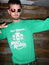L Large UGLY TACKY Christmas Party Sweater Four Queens Casino Slot Machine Mens