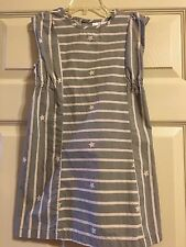 *HANNA ANDERSSON* Girls Gray Striped Shift Dress  Size 120 6X-7