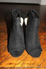 NEW Forever 21 Black & Brown Peep Toe Faux Suede Lace-up Ankle Wedges Size 8