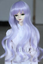 "1/3 8-9""LUTS Pullip SD BJD DOD Dollfie Doll Wig Long Curly Hair Light Purple"