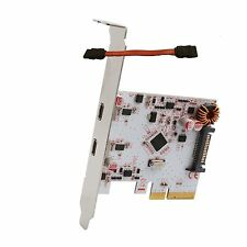"2-port USB 3.1 10 Gbps Type-C PCI-E x4 slot Controller Card + free SATA 5"" Cable"
