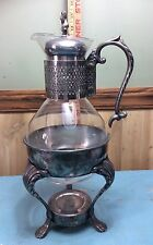 VINTAGE INTERNATIONAL SILVER CO COFFEE CARAFE WITH STAND CORNING GLASS