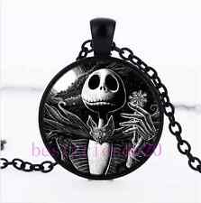 Nightmare Before Christmas Jack Cabochon Glass Black Pendant Necklace