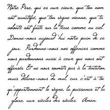 French Script - Lords Prayer UNMOUNTED rubber stamp #22