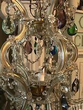 Vintage Italian Crystal Chandelier With Multi Colored Prisms Romantic Boho Chic
