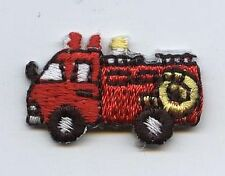 Iron On Embroidered Applique Patch Childrens Small Mini Fire Engine Truck Red